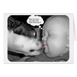 boston terrier kissing a baby greeting card