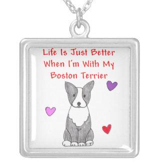 Boston Terrier Life Is Just Better Pendant