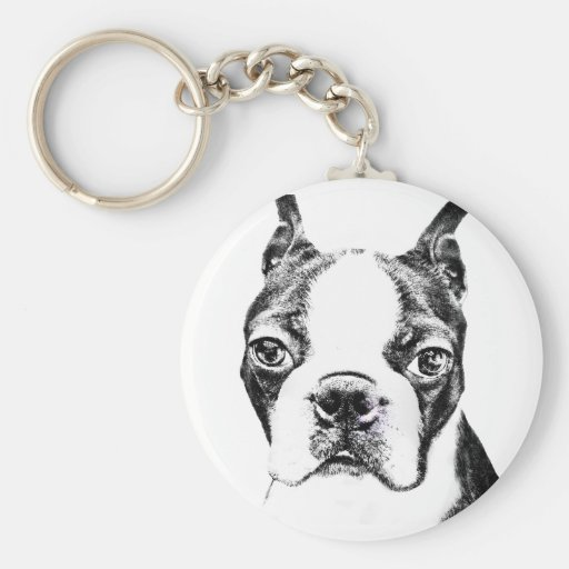 Boston Terrier Llavero Redondo Tipo Pin