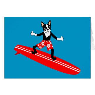 Boston Terrier Longboard Surfer Card