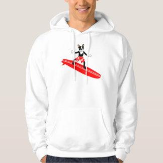 Boston Terrier Longboard Surfer Hoodie