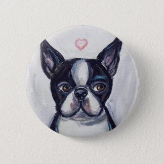 Boston Terrier Love heart Pinback Button