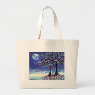 Boston Terrier love hearts smiling moon ocean Canvas Bag