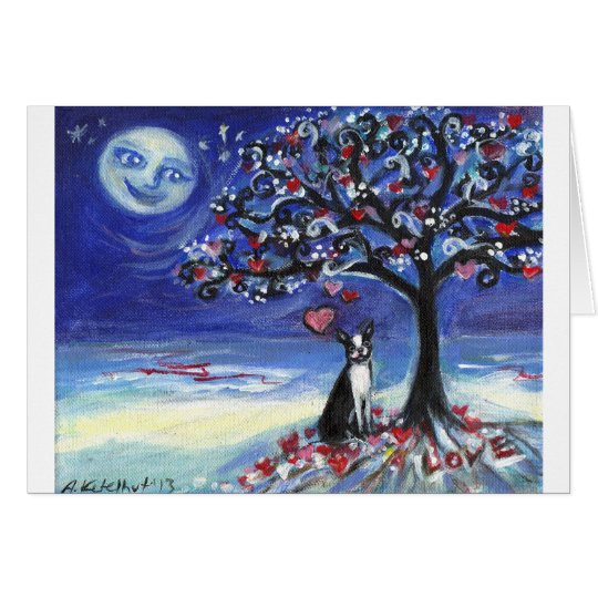 Boston Terrier love hearts smiling moon ocean Card