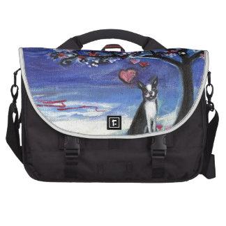 Boston Terrier love hearts smiling moon ocean Laptop Messenger Bag