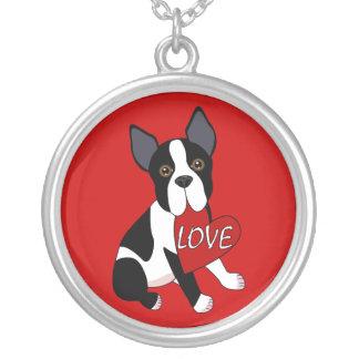 Boston Terrier Love Round Pendant Necklace