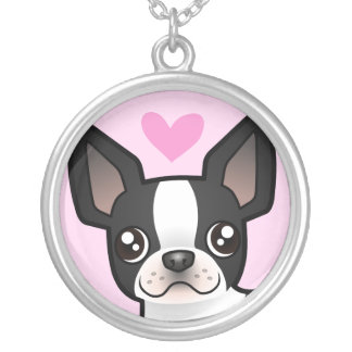 Boston Terrier Love Silver Plated Necklace