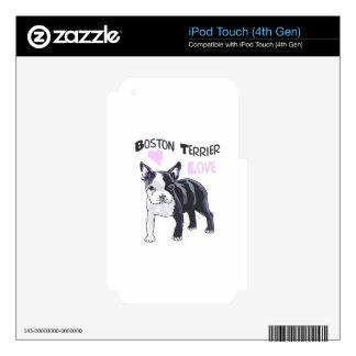 BOSTON TERRIER LOVE iPod TOUCH 4G SKINS