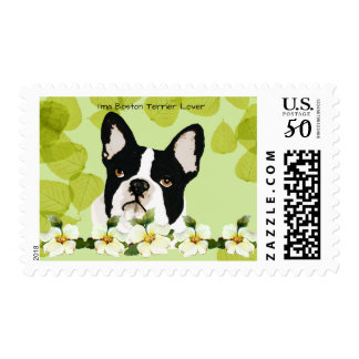 Boston Terrier Lover on Green Leaves with Dogwood Postage
