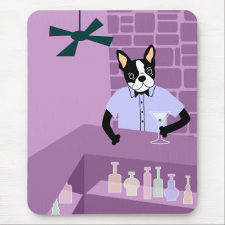 Boston Terrier Martini Bar Mouse Pad