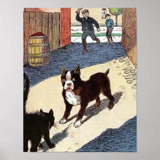 Boston Terrier Meets Cat Print