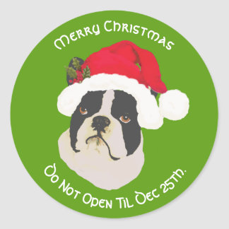 Boston Terrier Merry Christmas, Do Not Open til Classic Round Sticker