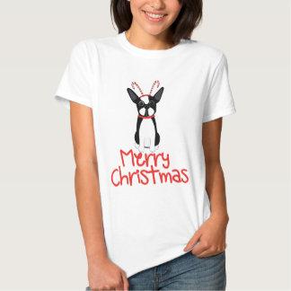 Boston Terrier Merry Christmas Tshirt