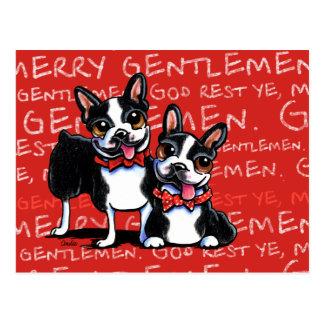 Boston Terrier Merry Gentlemen Funny Christmas Postcard