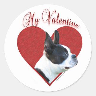 Boston Terrier mi tarjeta del día de San Valentín Etiqueta Redonda