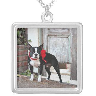 Boston Terrier - Miles Square Pendant Necklace