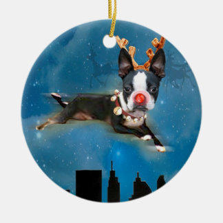 Boston Terrier Mirabelle Rudolph Holiday Ornament