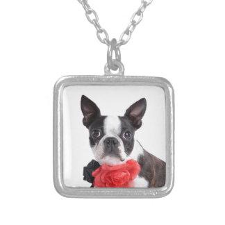 Boston Terrier Mollie mouse child Square Pendant Necklace