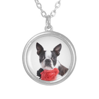 Boston Terrier Mollie mouse child Silver Plated Necklace