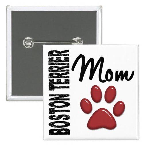 Boston Terrier Mom 2 2 Inch Square Button