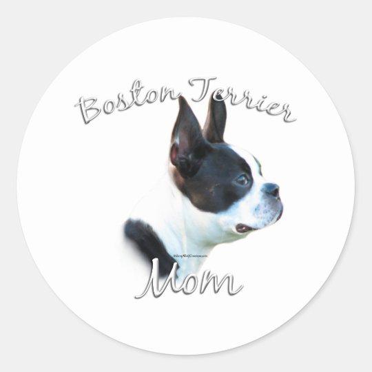 Boston Terrier Mom 2 Classic Round Sticker