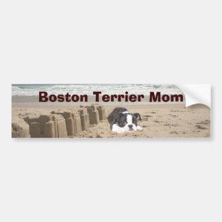 Boston Terrier Mom Bumper Sticker Sandcastles Car Bumper Sticker
