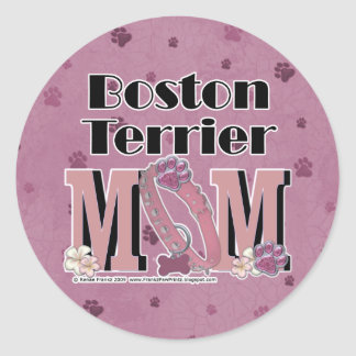 Boston Terrier MOM Classic Round Sticker
