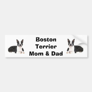 Boston Terrier Mom Dad Bumper Sticker