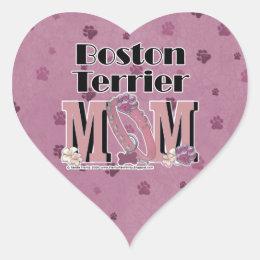 Boston Terrier MOM Heart Sticker
