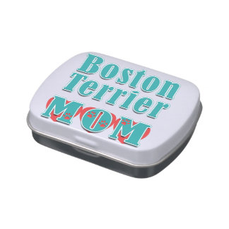 Boston Terrier Mom Hearts Jelly Belly Tins