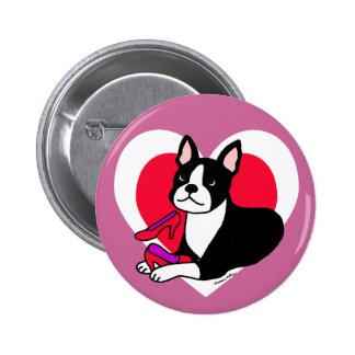 Boston Terrier Mom & High Heels Cartoon Pinback Button