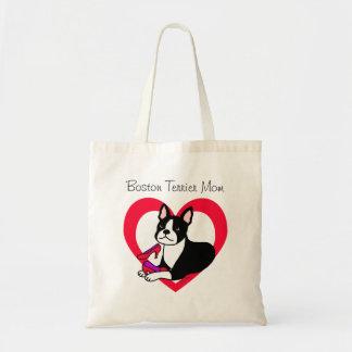 Boston Terrier Mom & High Heels Cartoon Tote Bag