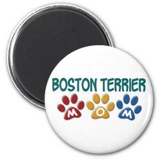 BOSTON TERRIER MOM Paw Print 1 2 Inch Round Magnet