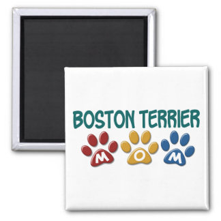 BOSTON TERRIER MOM Paw Print 1 2 Inch Square Magnet