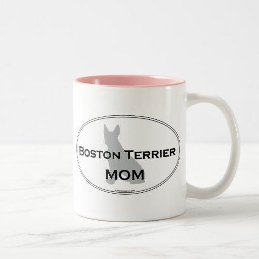 Boston Terrier Mom Two-Tone Coffee Mug