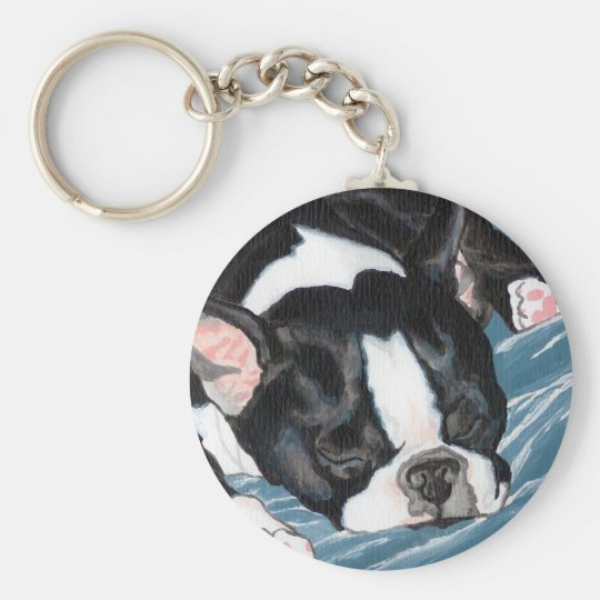 Boston Terrier Nap Keychain