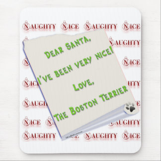 Boston Terrier Naughty or Nice Mouse Pad