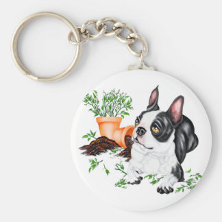 Boston Terrier Naughty Pup Keychain