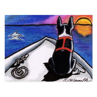 Boston Terrier Nautical Boat Sunset Off-Leash Art™ Postcard