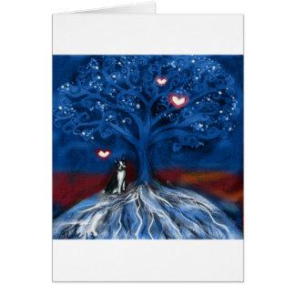 Boston Terrier night love glowing hearts tree Card