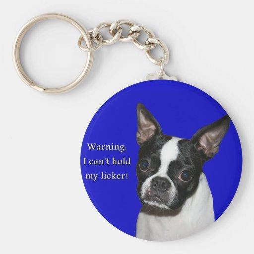 Boston Terrier:  No puede llevar a cabo su licker Llavero Redondo Tipo Pin