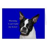 Boston Terrier:  No puede llevar a cabo su licker Felicitaciones