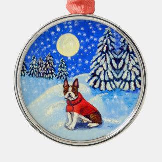 Boston Terrier Ornament Round Premium