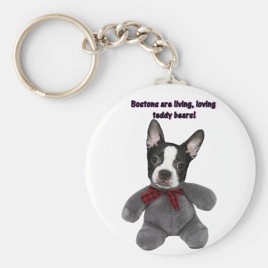 Boston Terrier:  Osos de peluche Llavero Redondo Tipo Pin