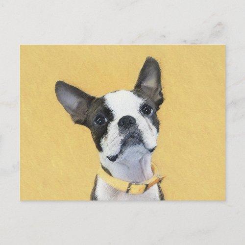 Boston Terrier Painting _ Cute Original Dog Art Postcard