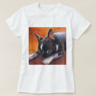 Boston Terrier painting dog Svetlana Novikova T Shirt