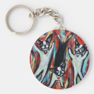 Boston Terrier Party Love Keychain
