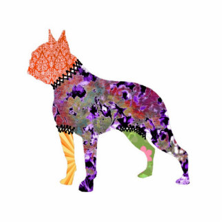 Boston Terrier Patchwork Pet Jewelry Pin Photo Cut Out