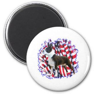 Boston Terrier Patriot 2 Inch Round Magnet