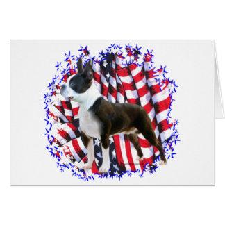 Boston Terrier Patriot Card